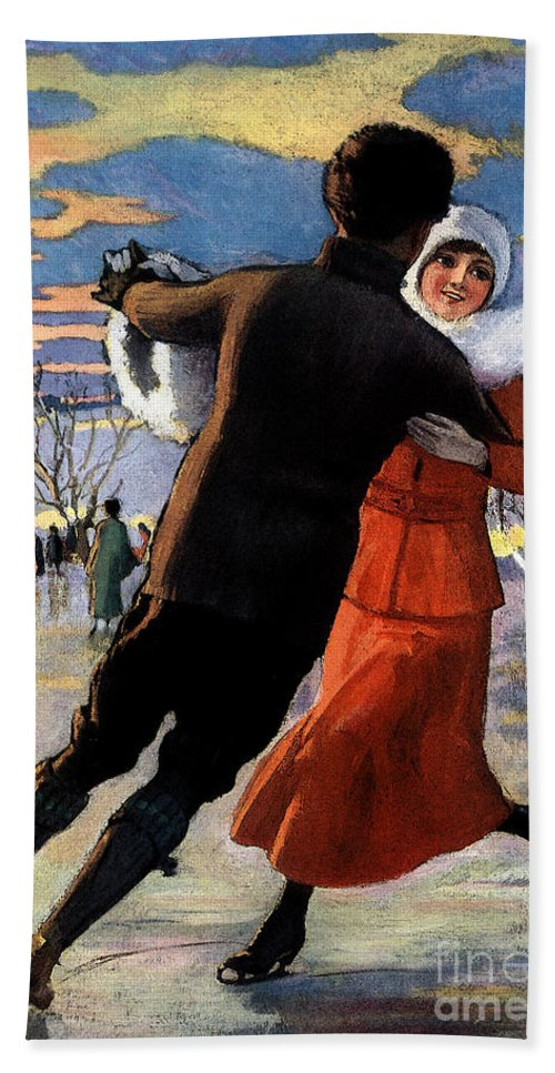 Vintage Bath Sheet featuring the mixed media Vintage Poster Couples Skating At Christmas On Frozen Pond by R Muirhead Art