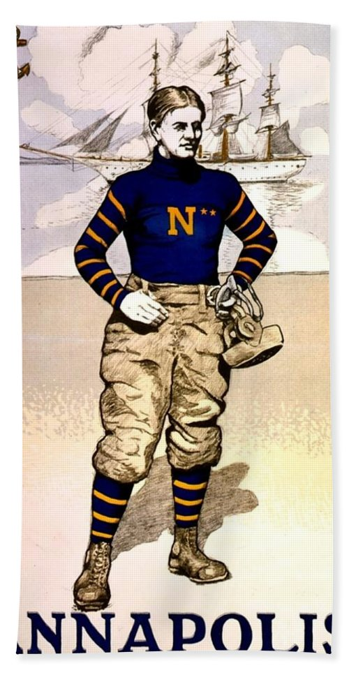 Usna Bath Sheet featuring the photograph Vintage Poster - Naval Academy Midshipman by Benjamin Yeager