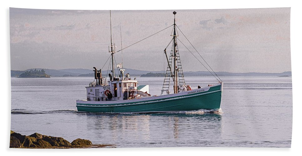 Michael Eileen Bath Sheet featuring the photograph Vintage Sardine Carrier Michael Eileen by Marty Saccone