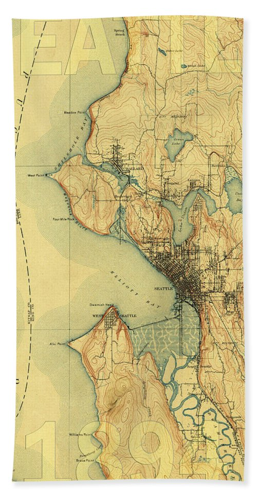 Seattle Bath Sheet featuring the photograph Vintage Seattle Map by Andrew Fare