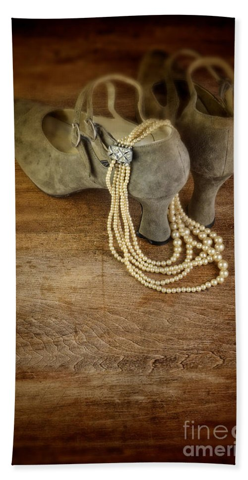 Shoes Hand Towel featuring the photograph Vintage Shoes And Pearls by Jill Battaglia
