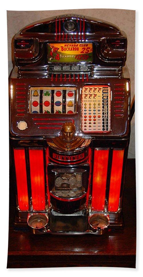 Vintage Slot Machine Hand Towel featuring the digital art Vintage Slot Machine 25 Cents by Marvin Blaine