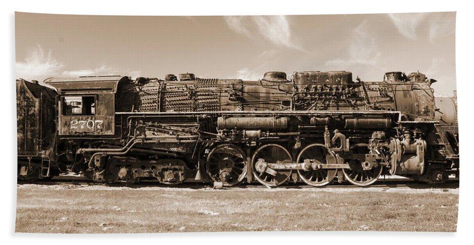 Trains Bath Sheet featuring the photograph Vintage Steam Locomotive by Robert Storost