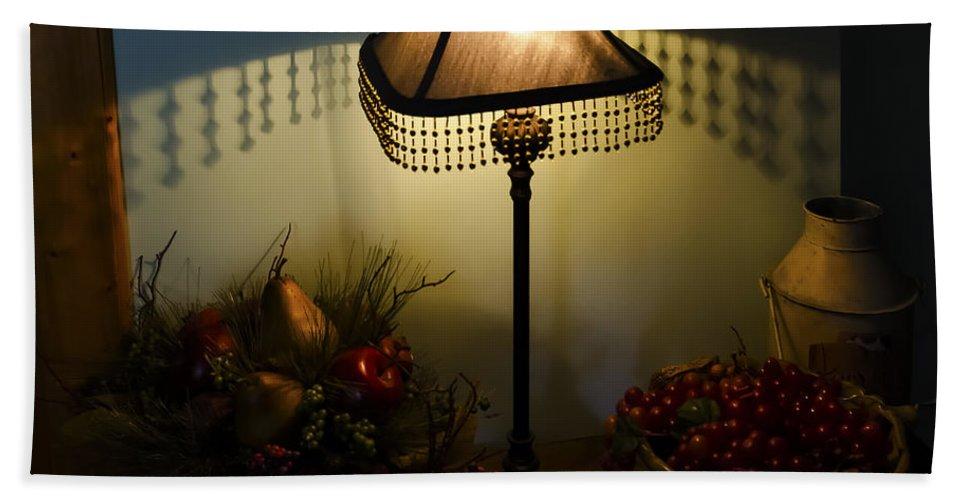 Vintage Still Life And Lamp Bath Sheet featuring the photograph Vintage Still Life And Lamp by Greg Reed