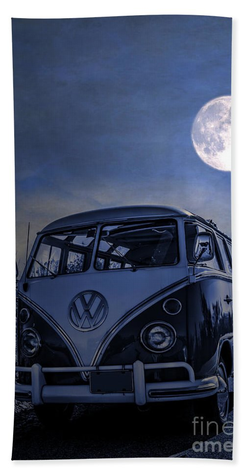 Full Hand Towel featuring the photograph Vintage Vw Bus Parked At The Beach Under The Moonlight by Edward Fielding
