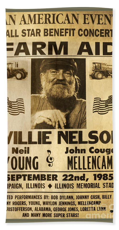 Willie Nelson Bath Sheet featuring the photograph Vintage Willie Nelson 1985 Farm Aid Poster by John Stephens