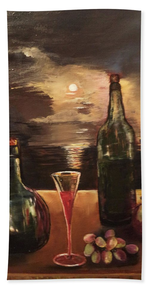 Wine Bottles Hand Towel featuring the painting Vintage Wine by Arlen Avernian - Thorensen