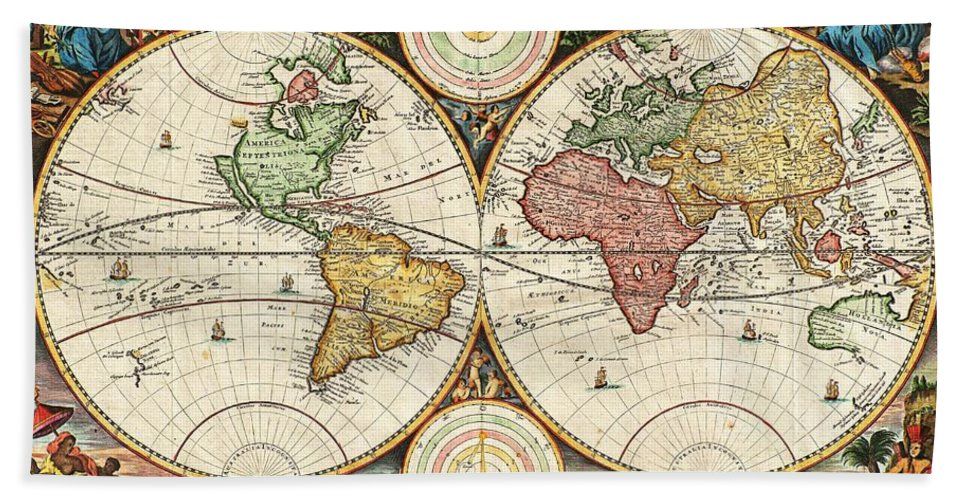 Vintage World Map Hand Towel For Sale By Daniel Stoopendaal