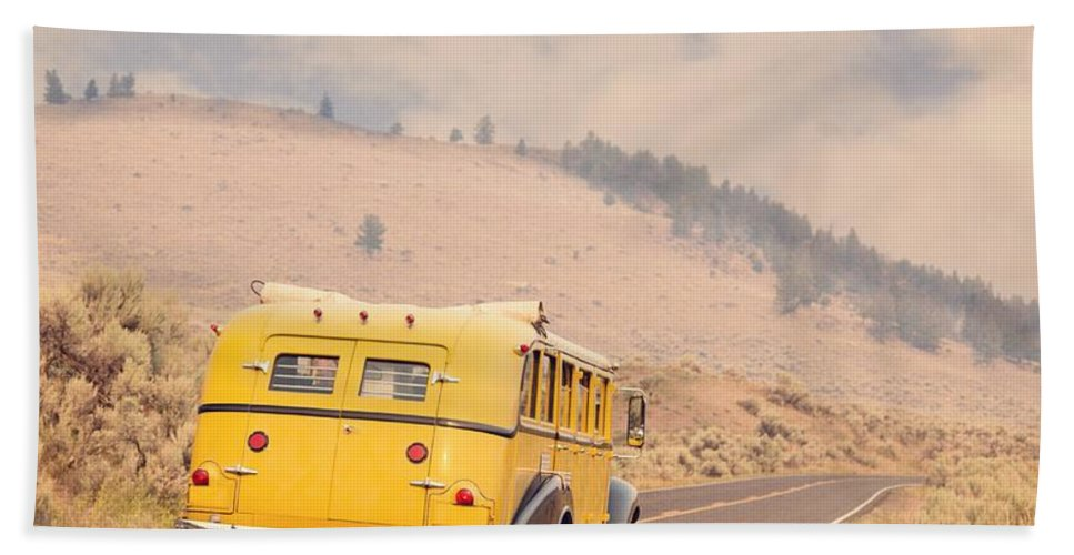 Touring Hand Towel featuring the photograph Vintage Yellowstone Bus by Edward Fielding