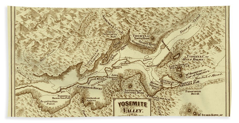 Yosemite Bath Sheet featuring the photograph Vintage Yosemite Map 1870 by Andrew Fare