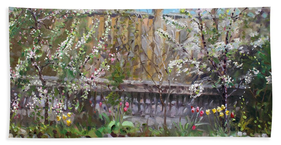 Trees Bath Sheet featuring the painting Viola's Apple And Cherry Trees by Ylli Haruni
