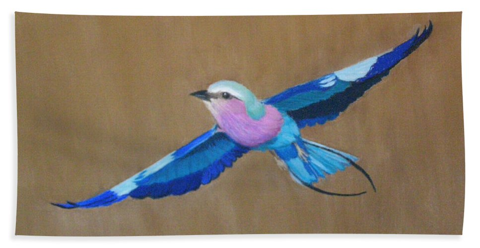 Colorful Bird Hand Towel featuring the painting Violet-breasted Roller Bird II by Lynn Quinn