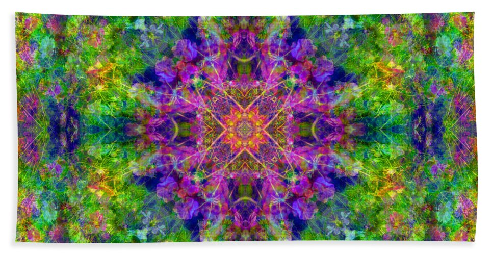 Rainbow Hand Towel featuring the photograph Violet Cosmos Mandala by Susan Bloom
