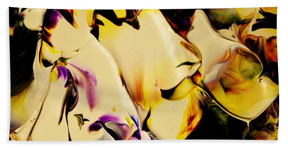 Abstract Hand Towel featuring the painting Botanical # 1212 by Antonia Lazaki