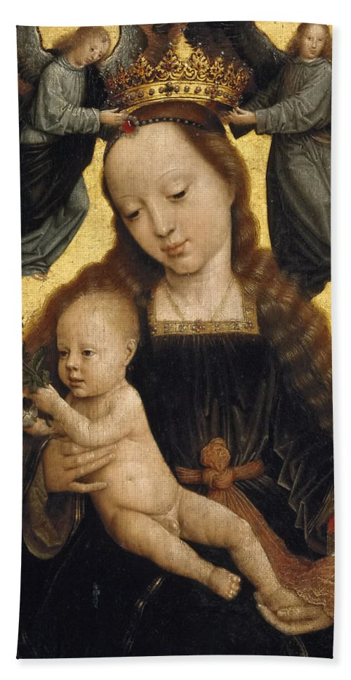 Gerard David Hand Towel featuring the painting Virgin And Child With Angels by Gerard David