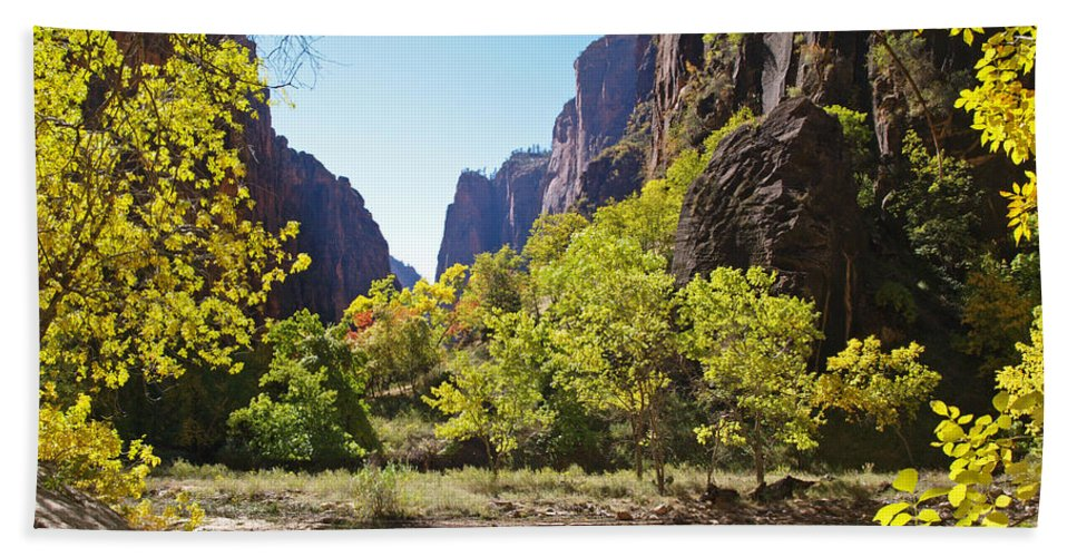 Landscape Hand Towel featuring the photograph Virgin River In Zion National Park by Alex Cassels