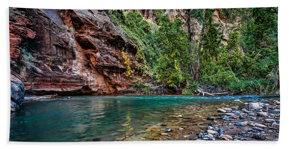 Zion Hand Towel featuring the photograph Virgin River Zion National Park Utah by George Buxbaum