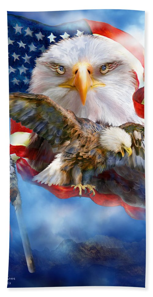Carol Cavalaris Hand Towel featuring the mixed media Vision Of Freedom by Carol Cavalaris