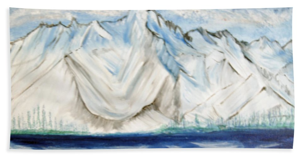 Lake Hand Towel featuring the painting Vision Of Mountain by Suzanne Surber