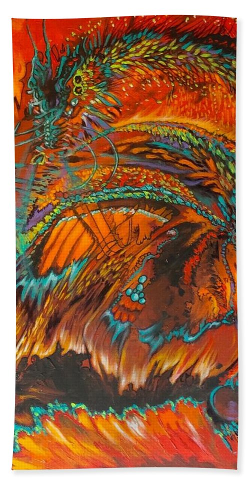Dragon Hand Towel featuring the painting Vision Quest by Judi Cain