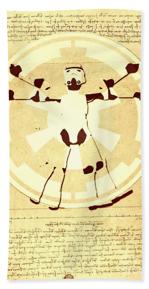 Imperial Bath Sheet featuring the digital art Vitruvian Stormtrooper Ghost by Helge