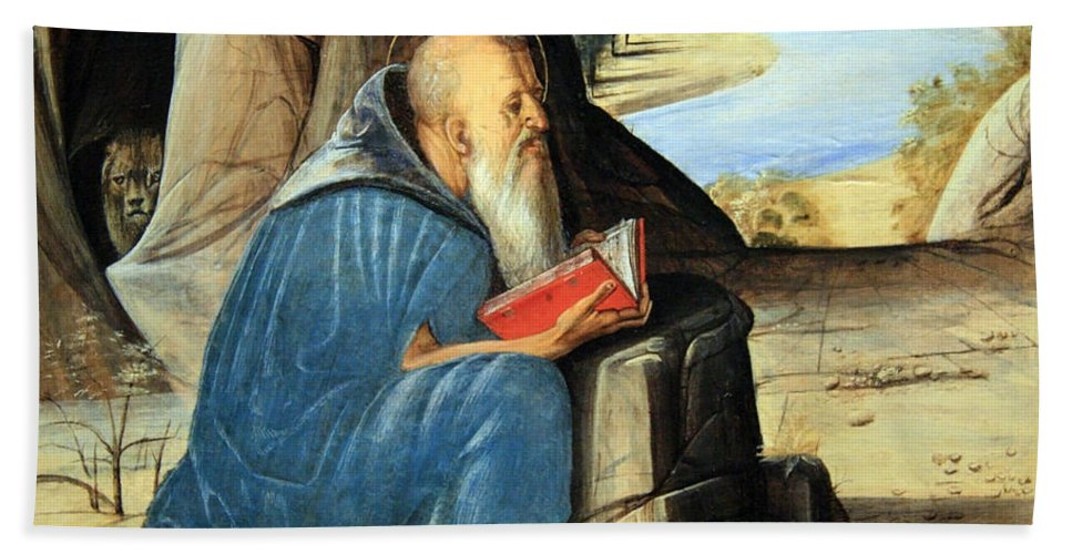 Saint Jerome Bath Sheet featuring the photograph Vivarini's Saint Jerome Reading by Cora Wandel