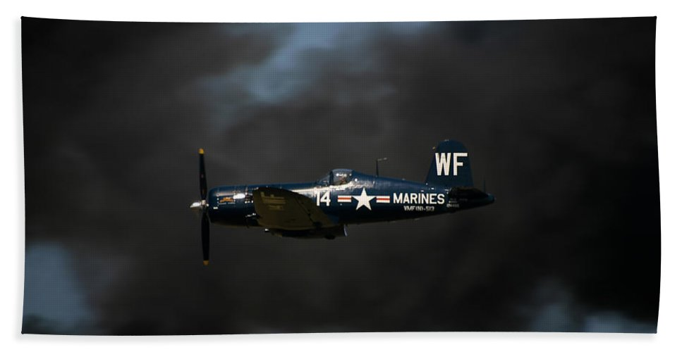 3scape Hand Towel featuring the photograph Vought F4u Corsair by Adam Romanowicz