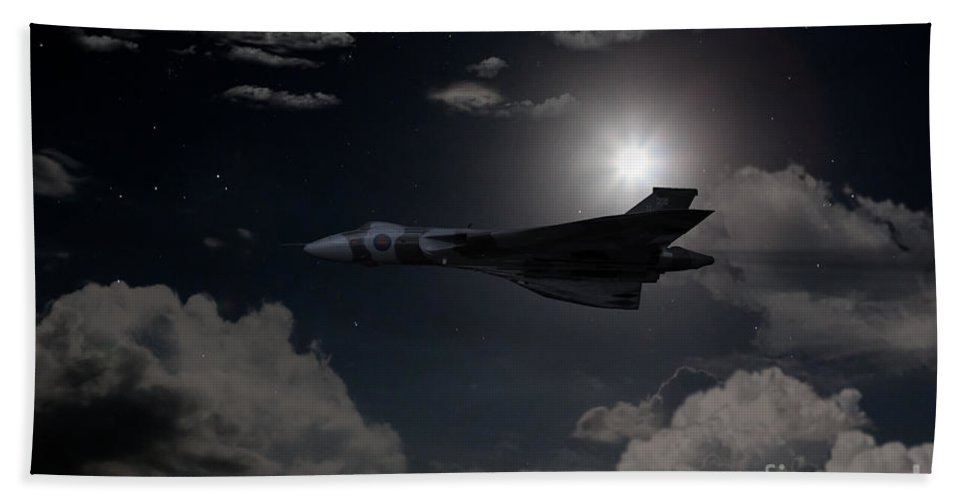 Avro Hand Towel featuring the digital art Vulcan Moon by J Biggadike