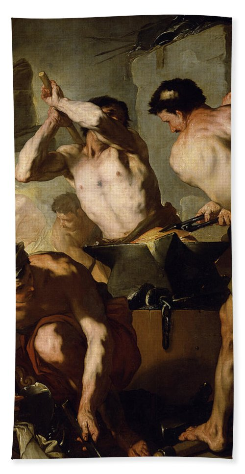 Neapolitan School Hand Towel featuring the painting Vulcans Forge by Luca Giordano