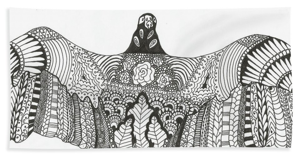 Vulture Hand Towel featuring the drawing Vulture Wild Ink by Jamie Ramirez