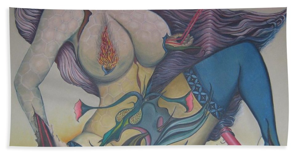 Sensual Hand Towel featuring the painting Fervently by Bob Ivens