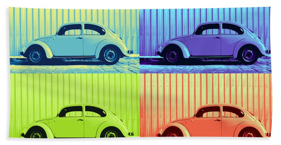 Auto Pop Art Bath Sheet featuring the photograph Vw Pop Summer by Laura Fasulo
