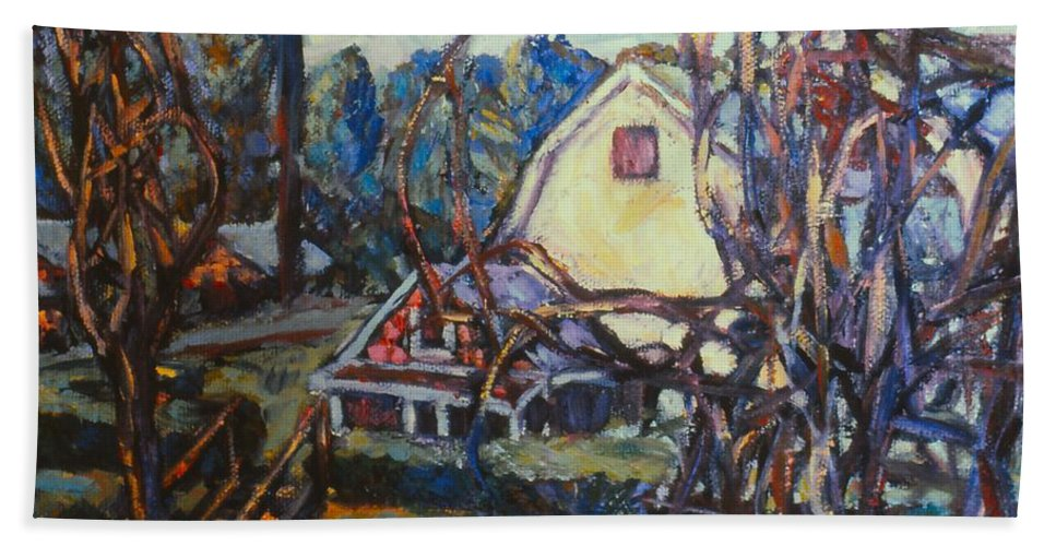 Houses Bath Sheet featuring the painting Wadsworth Avenue Again by Kendall Kessler
