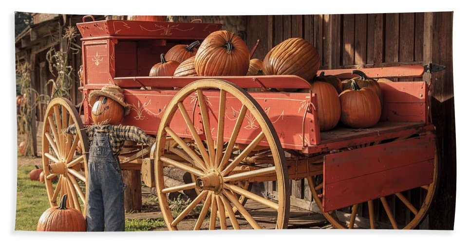Pumpkin Wagon Bath Sheet featuring the photograph Wagon Full Of Pumpkins by Lucid Mood