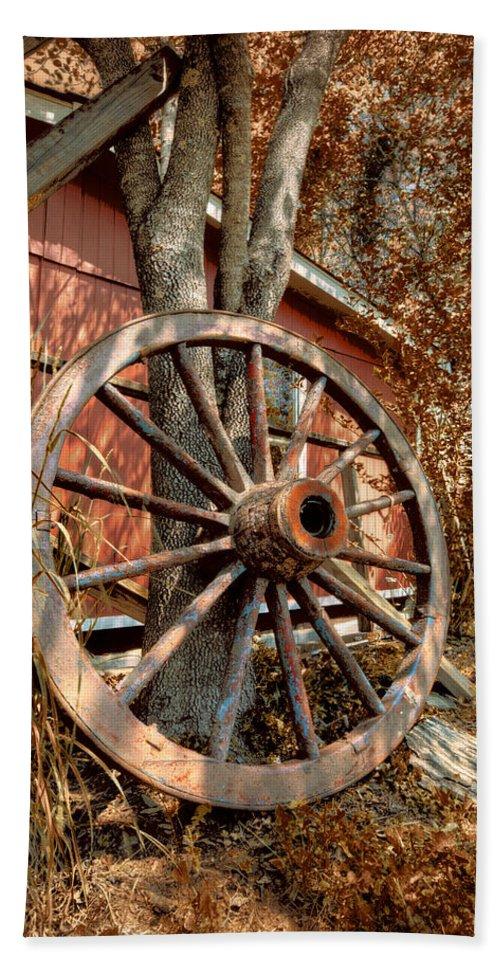 Appalachia Bath Sheet featuring the photograph Wagon Wheel by Debra and Dave Vanderlaan