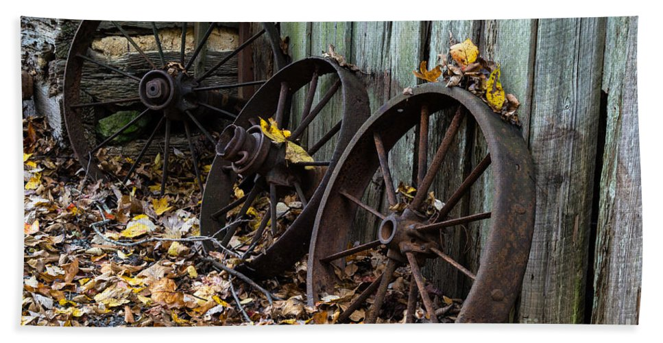 Wagon Hand Towel featuring the photograph Wagon Wheels by Scott Hervieux