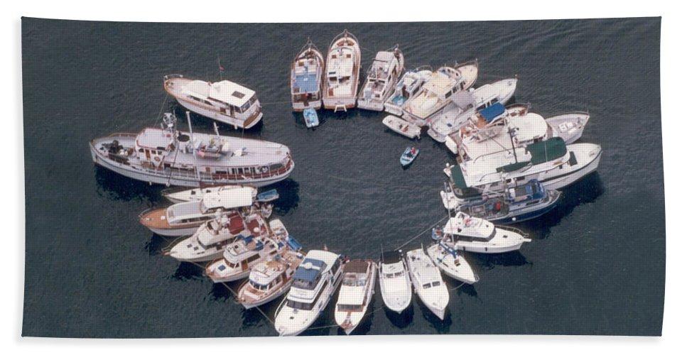 Yacht Portraits Hand Towel featuring the photograph Wagonwheel Wedding Raftup by Jack Pumphrey