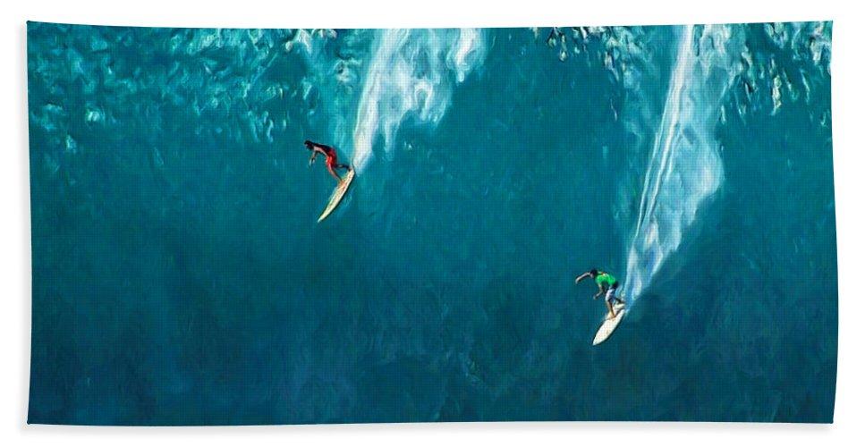 Waimea Bath Sheet featuring the painting Waimea Bay Giant by Dominic Piperata