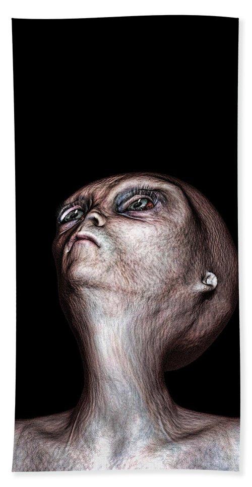 Alien Abduction Bath Sheet featuring the digital art Waiting by Bob Orsillo