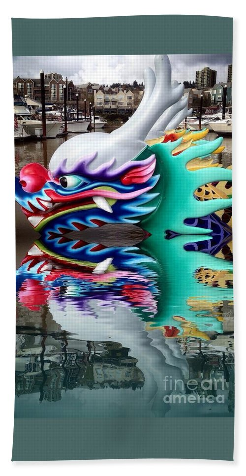 Waiting Dragon Reflect Hand Towel featuring the photograph Waiting Dragon Reflect by Susan Garren