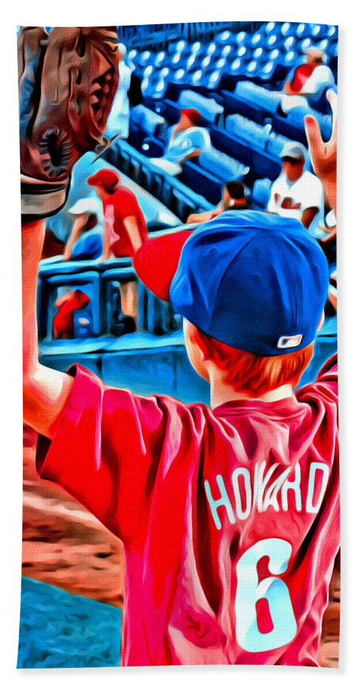 Phillies Foul Ball Kid Boy Baseball Fan Alicegipsonphotographs Bath Sheet featuring the photograph Waiting For A Foul Ball by Alice Gipson