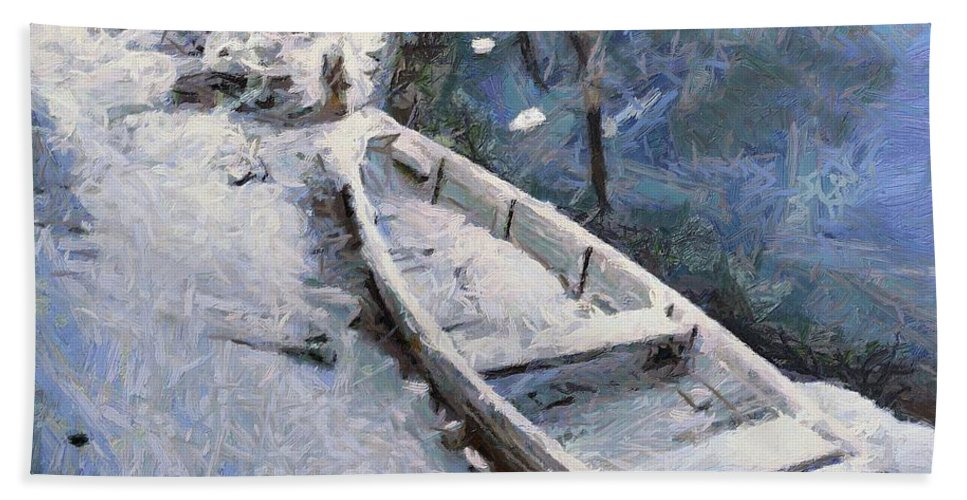 Boat Hand Towel featuring the painting Waiting For A Spring by Dragica Micki Fortuna