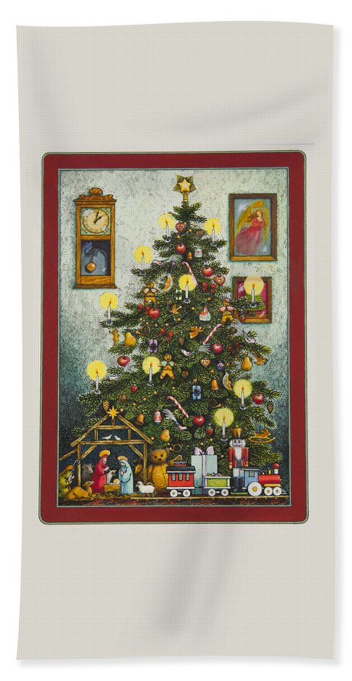 Christmas Hand Towel featuring the painting Waiting For Christmas Morning by Lynn Bywaters