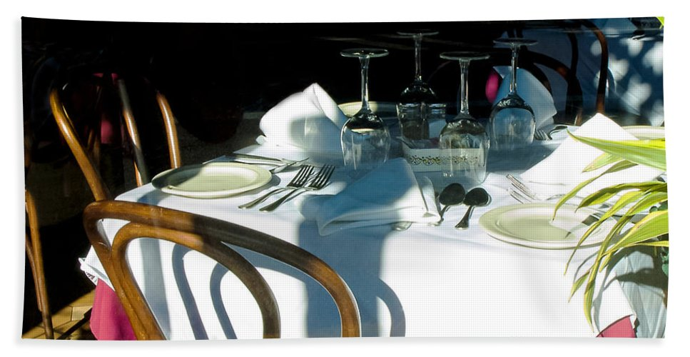 Columbia Restaurant Bath Sheet featuring the photograph Waiting For Diners by Norman Johnson