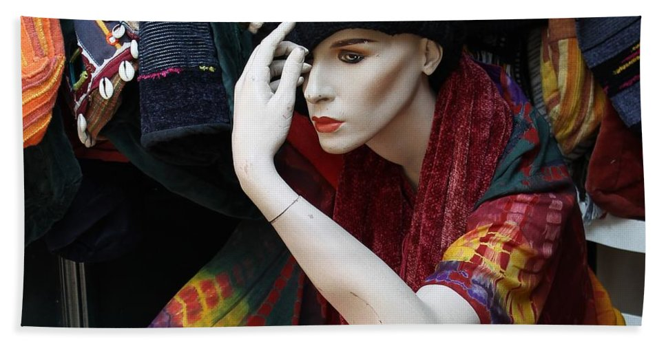 Photograph Woman Girl Model Color Colorful Sitting Store Window Mannequin Expressionism Impressionism Portrait Face Erotic Lips Red Hand Towel featuring the photograph Waiting For Mr.right by Steve K