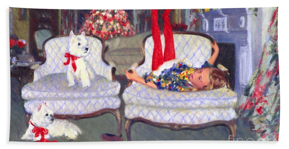 Dogs Bath Sheet featuring the painting Waiting For Santa by Candace Lovely