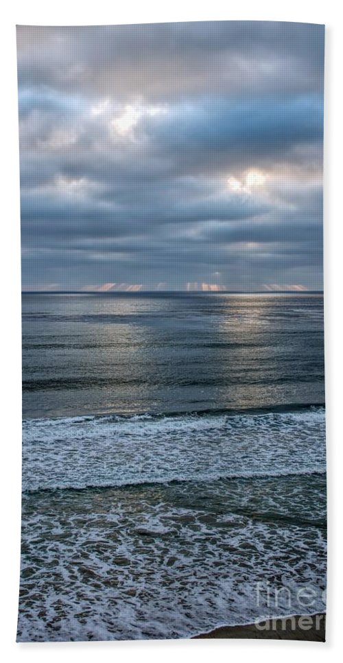 Beach Bath Sheet featuring the photograph Waiting For Sunset by Peggy Hughes