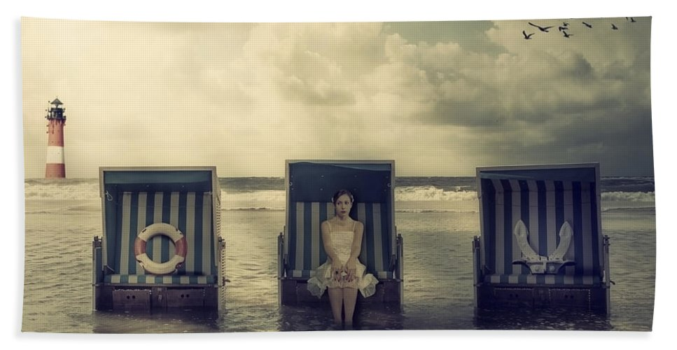 Beach Chair Hand Towel featuring the photograph Waiting For The Flood by Joana Kruse