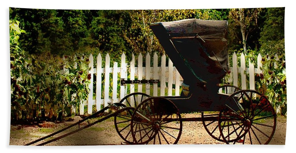 Amish Bath Sheet featuring the painting Waiting for the Mare by RC DeWinter