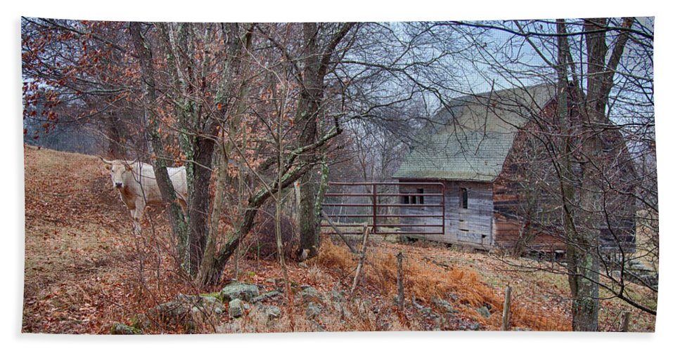 New England Barn Hand Towel featuring the photograph Waiting For Winter by Jeff Folger